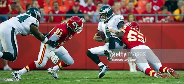 Kansas City Chiefs linebacker Demorrio Williams sacks Philadelphia Eagles quarterback Kevin Kolb in the first quarter at Arrowhead Stadium in Kansas...