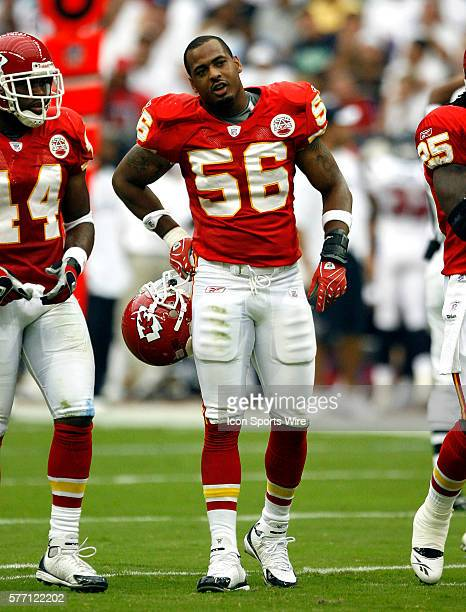 Kansas City Chiefs linebacker Derrick Johnson and Jarrad Page during game action between the Kansas City Chiefs and the Houston Texans Sept 9 2007 at...