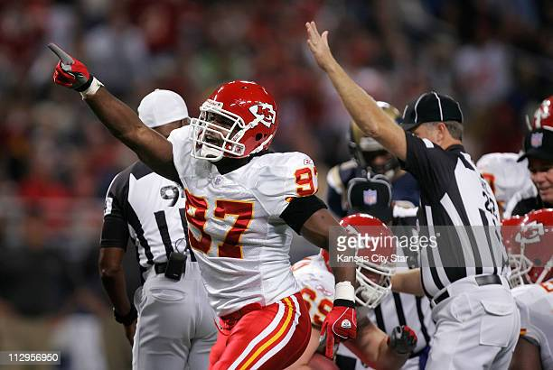 Kansas City Chiefs linebacker Keyaron Fox signals a first down after his teammate Jared Allen recovered a fumble against the St. Louis Rams. The...