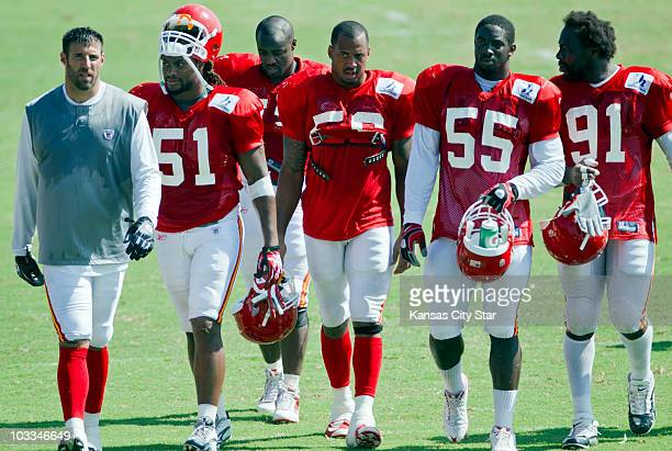Kansas City Chiefs linebackers, from left, Mike Vrabel, Corey Mays, Demorrio Williams, Derrick Johnson, Cameron Sheffield and Tamba Hali walk off the...