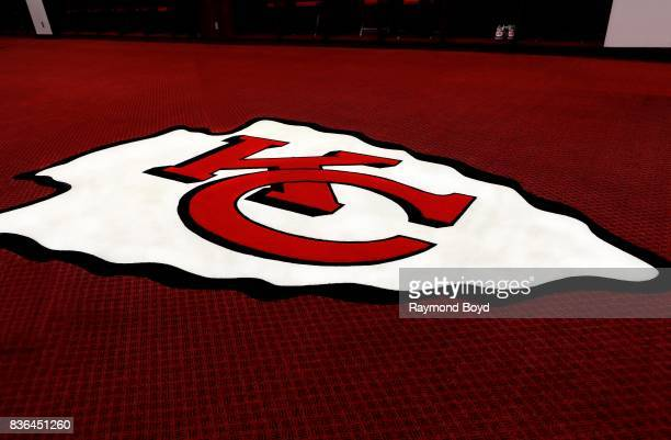 Kansas City Chiefs logo in the team's locker room at Arrowhead Stadium home of the Kansas City Chiefs football team in Kansas City Missouri on August...