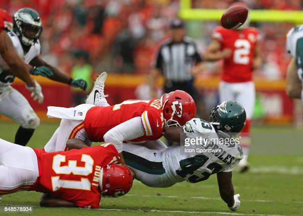 Kansas City Chiefs long snapper James Winchester forces a fumble by Philadelphia Eagles running back Darren Sproles on a punt return late in the...
