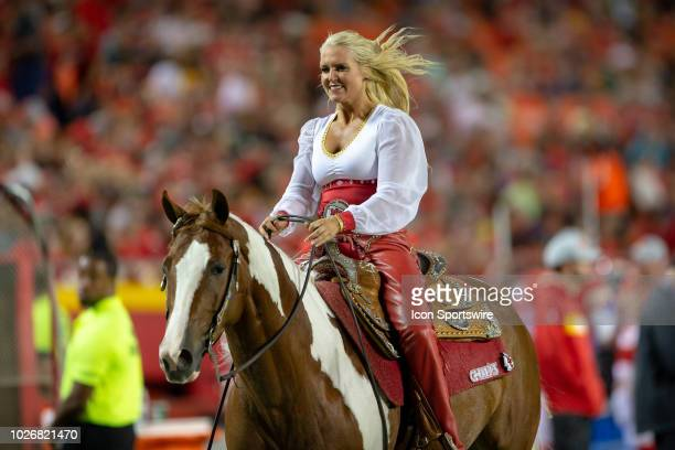 Kansas City Chiefs mascot horse during the NFL Preseason game against the Green Bay Packers on August 30 2018 at Arrowhead Stadium in Kansas City...