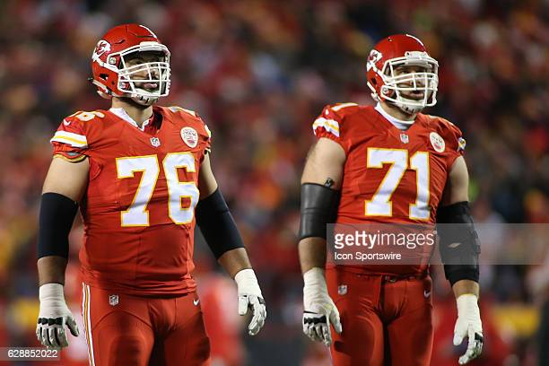 Kansas City Chiefs offensive guard Laurent DuvernayTardif and tackle Mitchell Schwartz during a Thursday night AFC West showdown between the Oakland...