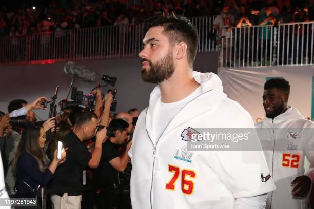 Kansas City Chiefs Offensive Guard Laurent DuvernayTardif enters the floor for Kansas City Chiefs Super Bowl LIV Opening Night at Marlins Park on...