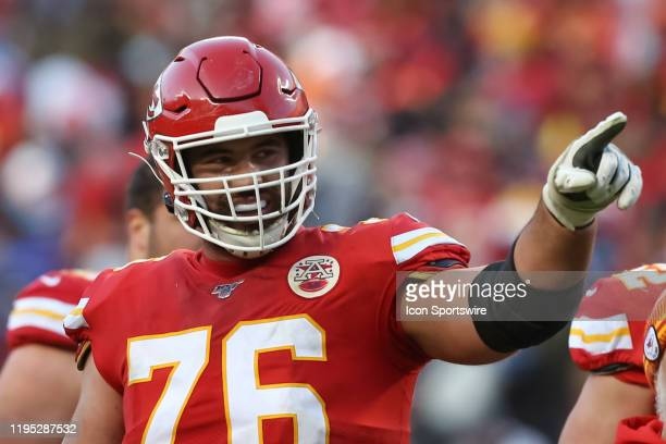 Kansas City Chiefs offensive guard Laurent Duvernay-Tardif points to the stands in the third quarter of the AFC Championship game between the...