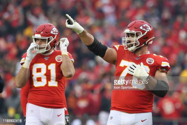 Kansas City Chiefs offensive guard Laurent DuvernayTardif points up in the second quarter of an NFL Divisional round playoff game between the Houston...