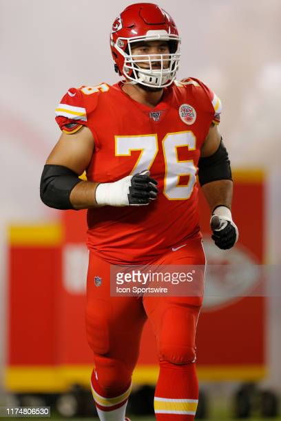 Kansas City Chiefs Offensive Guard Laurent DuvernayTardif runs onto the field during player introductions prior to the game between the Indianapolis...