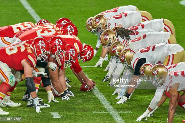 Kansas City Chiefs offensive line lines across from the San Francisco 49ers defensive line at the line of scrimmage in game action during the Super...