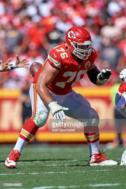 Kansas City Chiefs offensive tackle Laurent DuvernayTardif battles in action during an NFL game between the San Francisco 49ers and the Kansas City...