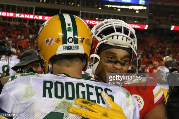 Kansas City Chiefs outside linebacker Damien Wilson and Green Bay Packers quarterback Aaron Rodgers hug after an NFL game between the Green Bay...