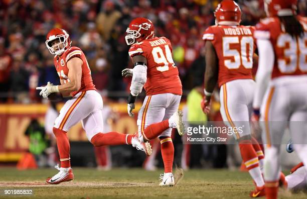 Kansas City Chiefs outside linebacker Frank Zombo picks up an apparent fumble from Tennessee Titans quarterback Marcus Mariota in the fourth quarter...