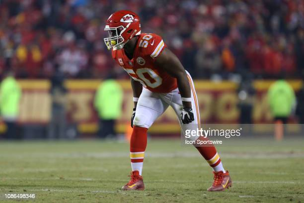 Kansas City Chiefs outside linebacker Justin Houston in the fourth quarter of the AFC Championship Game game between the New England Patriots and...
