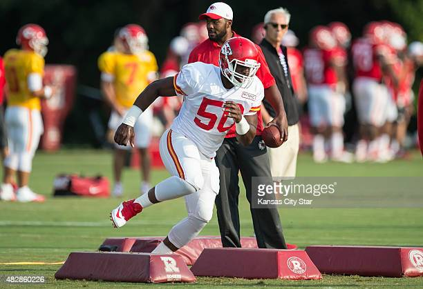 Kansas City Chiefs outside linebacker Justin Houston runs footwork drills during the team's training camp practice Monday morning Aug 3 2015 at...
