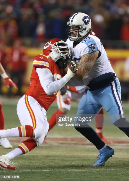 Kansas City Chiefs outside linebacker Tamba Hali is unable to get past the block of Tennessee Titans offensive tackle Taylor Lewan in the third...