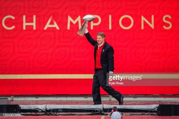 Kansas City Chiefs owner Clark Hunt hoists the Vince Lombardi Trophy during the Kansas City Super Bowl parade on February 5 2020 in Kansas City...