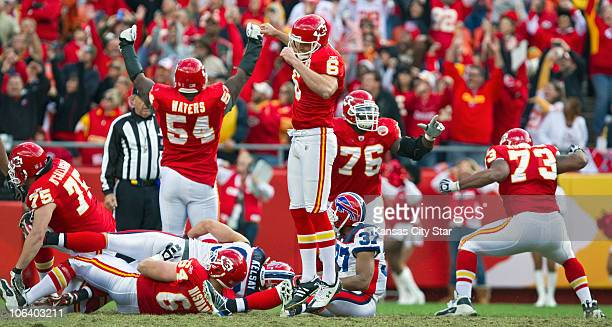 Kansas City Chiefs place kicker Ryan Succop celebrates the gamewinning field goal in overtime against the Buffalo Bills The Chiefs defeated the Bills...