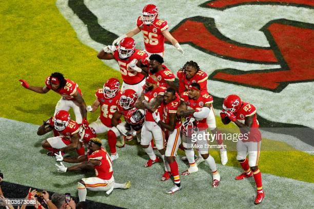 Kansas City Chiefs players celebrate after an interception of Kendall Fuller during the fourth quarter against the San Francisco 49ers in Super Bowl...