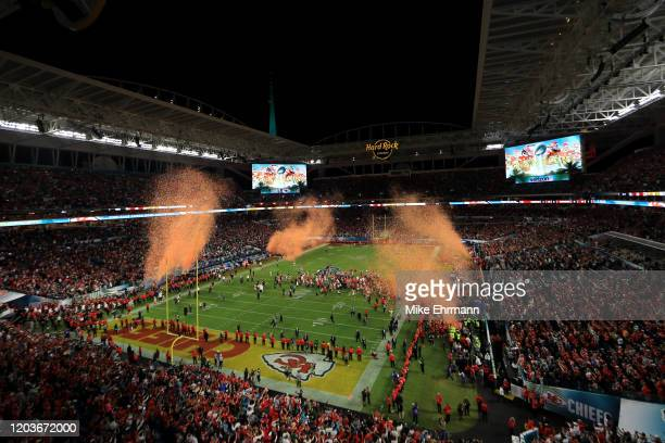 Kansas City Chiefs players celebrate after defeating San Francisco 49ers by 31 20 in Super Bowl LIV at Hard Rock Stadium on February 02 2020 in Miami...