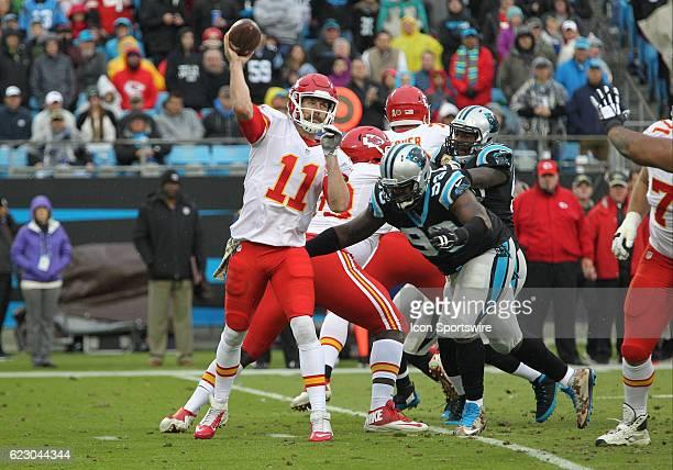 Kansas City Chiefs Quarterback Alex Smith throws a pass to a receiver during the NFL game between the Kansas City Chiefs and the Carolina Panthers on...