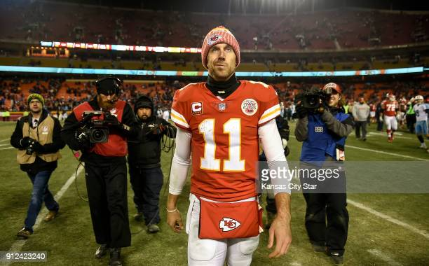 Kansas City Chiefs quarterback Alex Smith walks off the field after the Chiefs lost to the Tennessee Titans 2221 on January 6 during the AFC Wild...