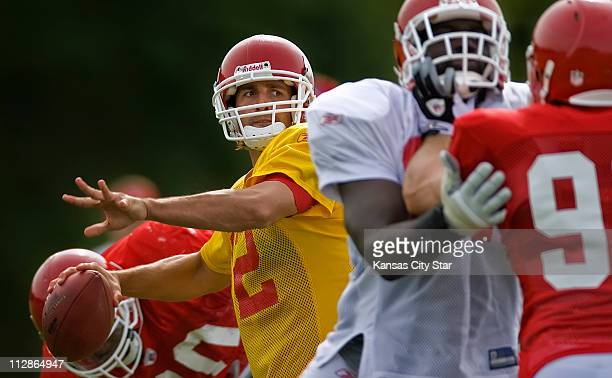 Kansas City Chiefs quarterback Brodie Croyle throws a pass in practice on the campus of the University of WisconsinRiver Falls in River Falls...