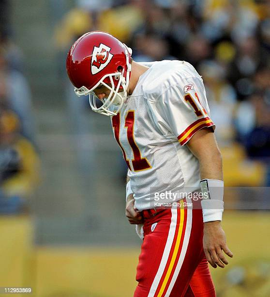 Kansas City Chiefs quarterback Damon Huard walks back to the line of scrimmage after throwing an incomplete pass in the third quarter against the...