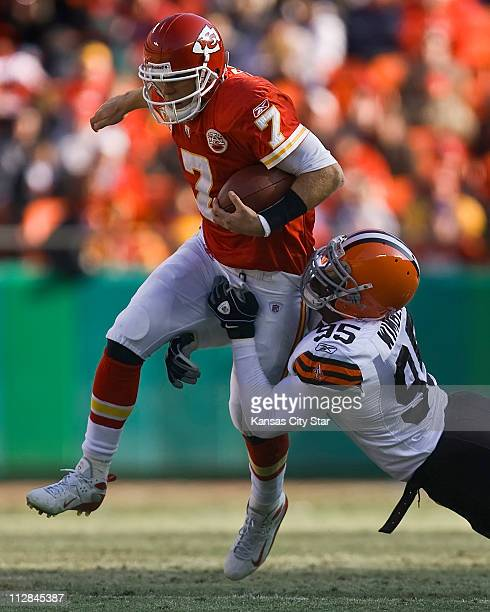 Kansas City Chiefs quarterback Matt Cassel left was tackled in the second quarter by Cleveland Browns Kamerion Wimbley right on Sunday December 20 at...