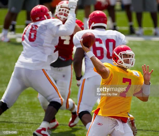 Kansas City Chiefs quarterback Matt Cassel looks for an open receiver during Family Fun Day at the team's summer training camp at Missouri Western...