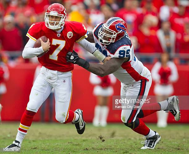 Kansas City Chiefs quarterback Matt Cassel scrambled away from Buffalo Bills defensive tackle Marcus Stroud for five yards in overtime The Chiefs...