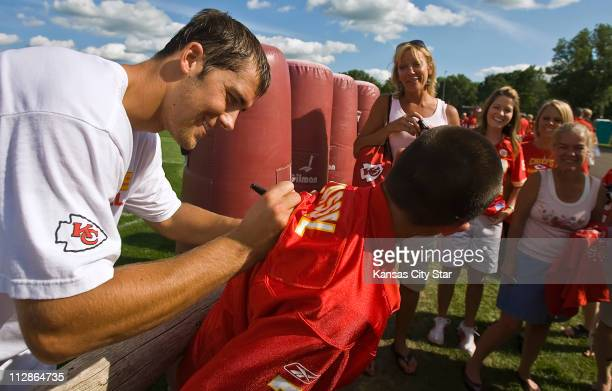 Kansas City Chiefs quarterback Matt Cassel signed autographs for fans at the team's training camp on the campus of the University of WisconsinRiver...