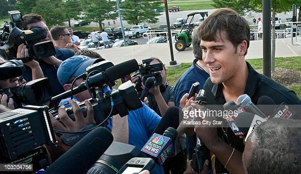Kansas City Chiefs quarterback Matt Cassel talks to reporters after arriving for training camp at Missouri Western State University in St. Joseph,...