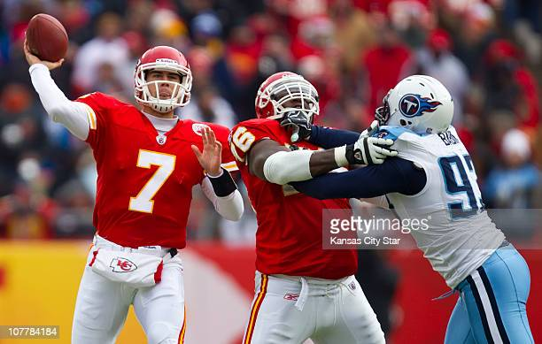 Kansas City Chiefs quarterback Matt Cassel threw a pass as Kansas City Chiefs offensive tackle Branden Albert blocks Tennessee Titans defensive end...