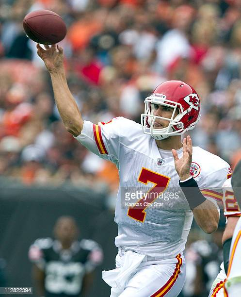 Kansas City Chiefs quarterback Matt Cassel throws in the first quarter against the Cleveland Browns at Cleveland Browns Stadium on Sunday September...
