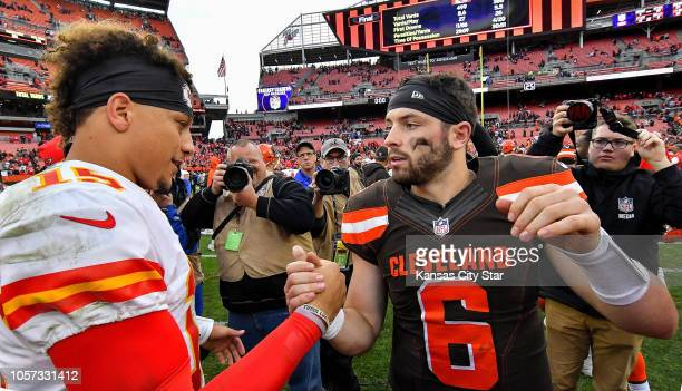 Kansas City Chiefs quarterback Patrick Mahomes and Cleveland Browns quarterback Baker Mayfield meet after the Chiefs' 3721 win against the Browns on...
