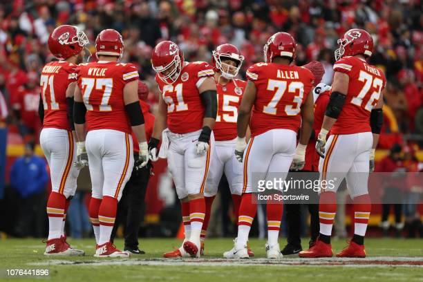Kansas City Chiefs quarterback Patrick Mahomes and his offensive line in the first quarter of an NFL game between the Oakland Raiders and Kansas City...