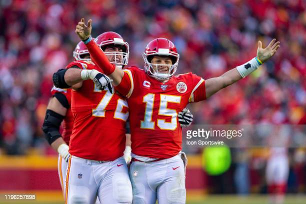 Kansas City Chiefs quarterback Patrick Mahomes and Kansas City Chiefs offensive tackle Eric Fisher celebrate after a play against the Tennessee...