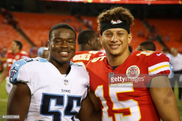 Kansas City Chiefs quarterback Patrick Mahomes and Tennessee Titans linebacker Jayon Brown after an NFL preseason game between the Tennessee Titans...