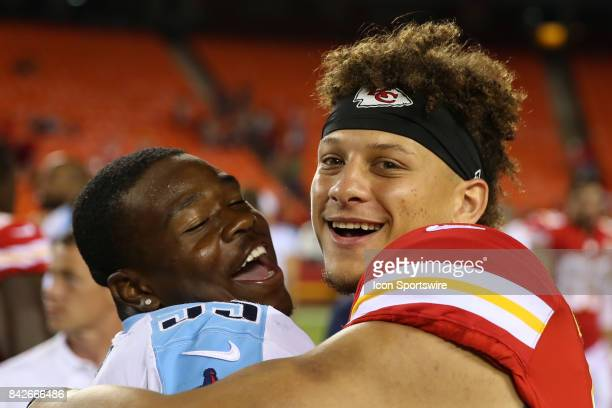 Kansas City Chiefs quarterback Patrick Mahomes and Tennessee Titans linebacker Jayon Brown hug each other after an NFL preseason game between the...