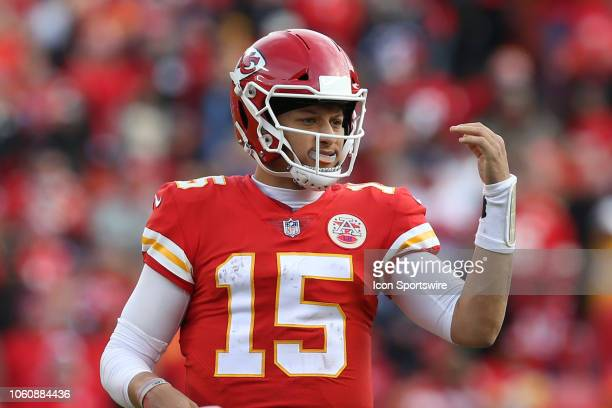 Kansas City Chiefs quarterback Patrick Mahomes at the line of scrimmage in the second half of a week 10 NFL game between the Arizona Cardinals and...
