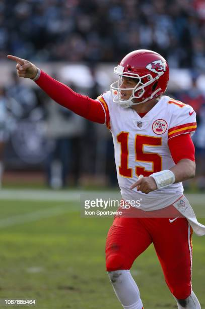 Kansas City Chiefs quarterback Patrick Mahomes celebrates a touchdown against the Oakland Raiders at the Oakland Alameda Coliseum in Oakland...