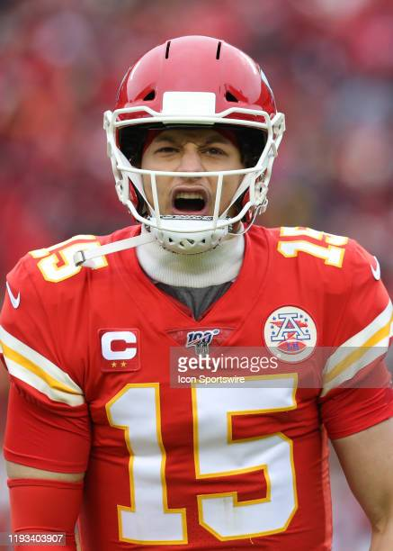 Kansas City Chiefs quarterback Patrick Mahomes celebrates after throwing a 17yard touchdown pass to running back Damien Williams in the second...