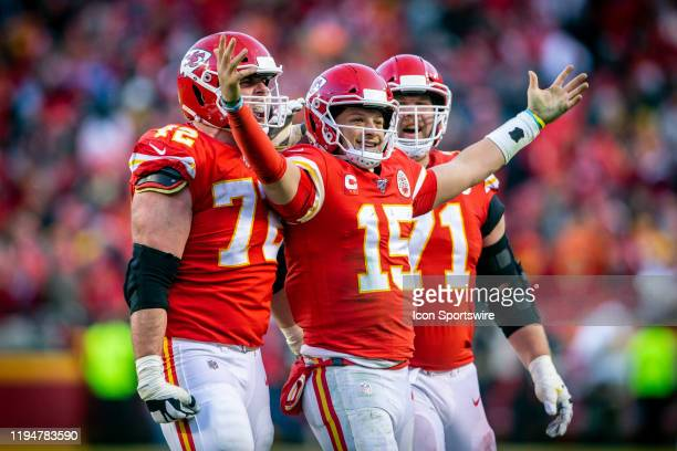Kansas City Chiefs quarterback Patrick Mahomes celebrates after throwing a touchdown pass during the fourth quarter against the Tennessee Titans at...