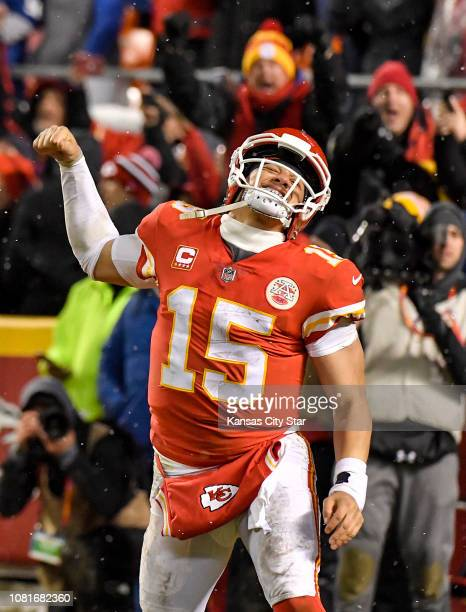 Kansas City Chiefs quarterback Patrick Mahomes celebrates after running back Darrel Williams runs in a fourthquarter touchdown against the...