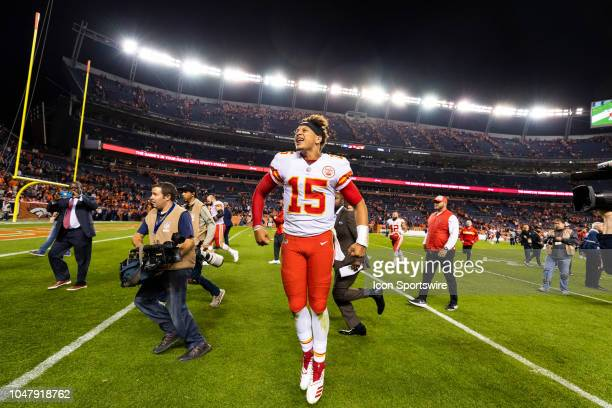 Kansas City Chiefs quarterback Patrick Mahomes celebrates after the NFL regular season football game against the Denver Broncos on October 01 at...