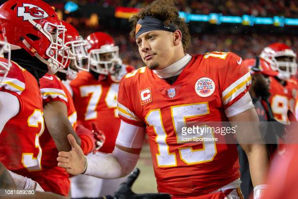Kansas City Chiefs quarterback Patrick Mahomes celebrates on the sidelines during the NFL AFC Divisional Round playoff game against the Indianapolis...