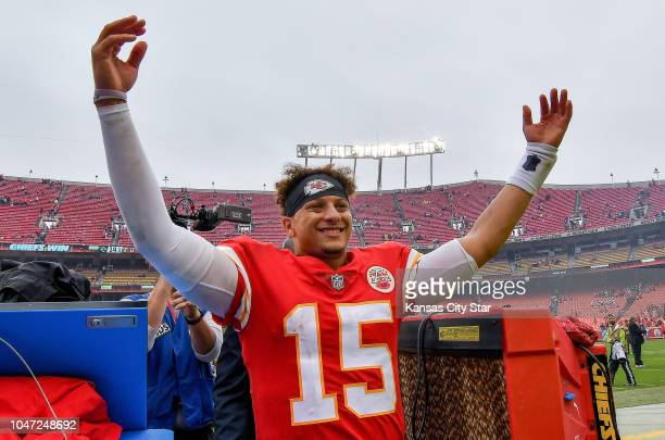 Kansas City Chiefs quarterback Patrick Mahomes celebrates the team's 3014 win against the Jacksonville Jaguars after Sunday's football game on Oct 7...