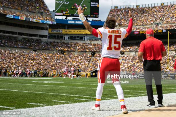 Kansas City Chiefs quarterback Patrick Mahomes cheers on the Chiefs defense during the NFL football game between the Kansas City Chiefs and...