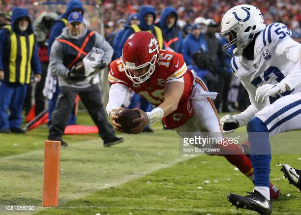 Kansas City Chiefs quarterback Patrick Mahomes dives for the pylon on a 4yard touchdown run with 146 left in the second quarter of an AFC Divisional...