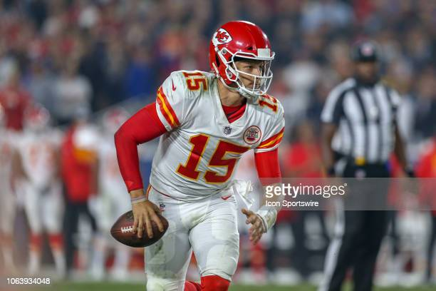 Kansas City Chiefs quarterback Patrick Mahomes during a NFL game between the Kansas City Chiefs and the Los Angeles Rams on November 19 at the Los...